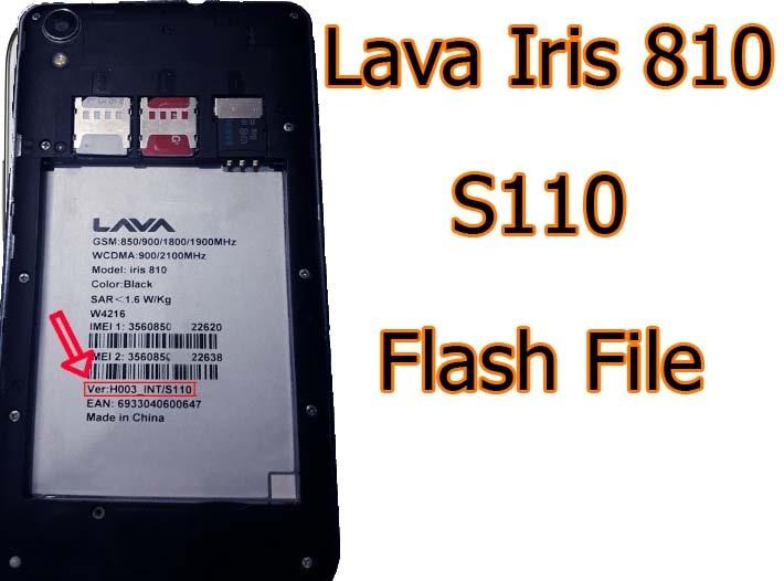 Lava Iris 810 Flash File S110 Firmware Free (Stock ROM)